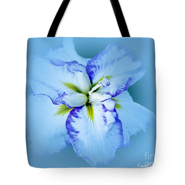 Iris In Blue Tote Bag