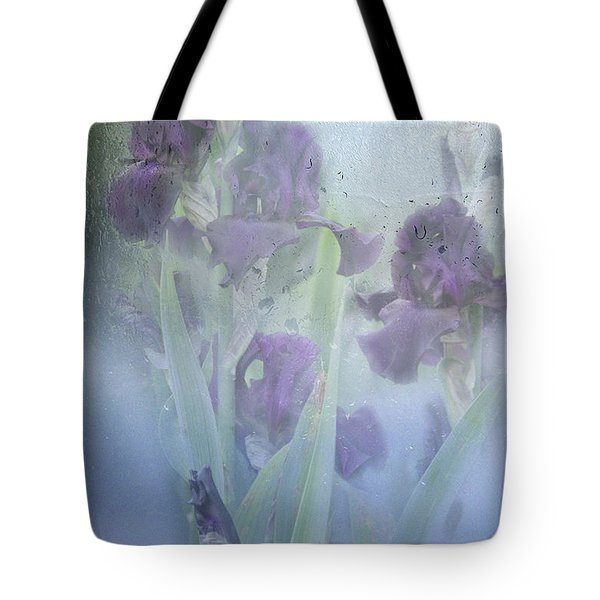Iris In The Spring Rain Tote Bag