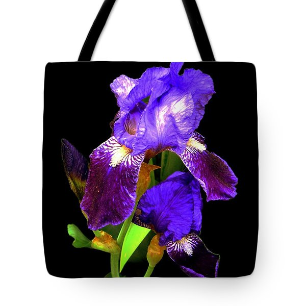 Iris On Black Tote Bag