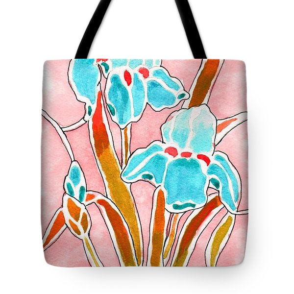 Tote Bag featuring the painting Irises With An Attitude by Paula Ayers