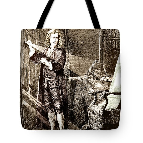 Isaac Newton Ray Of Light Tote Bag by Science Source