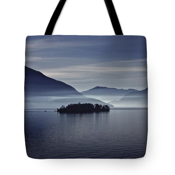 Island In Morning Mist Tote Bag
