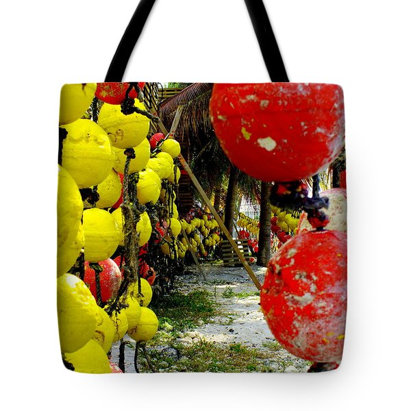 Island Of Buoys Tote Bag by Karen Wiles