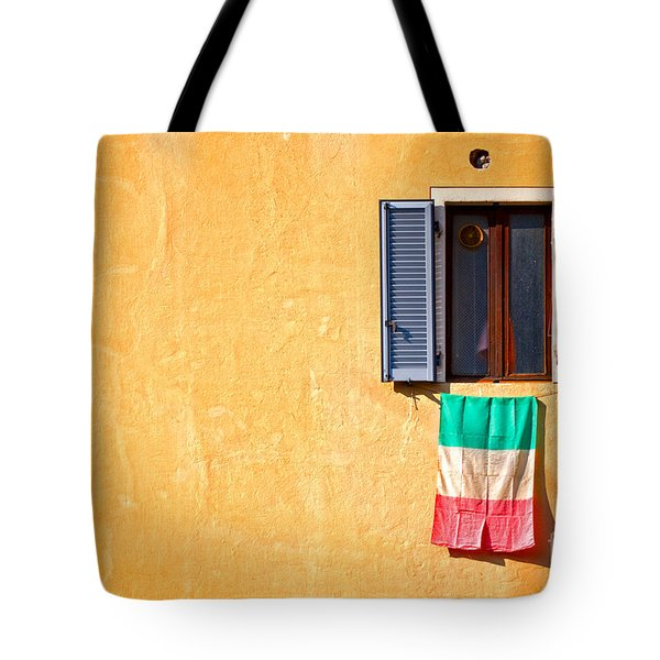Italian Flag Window And Yellow Wall Tote Bag by Silvia Ganora