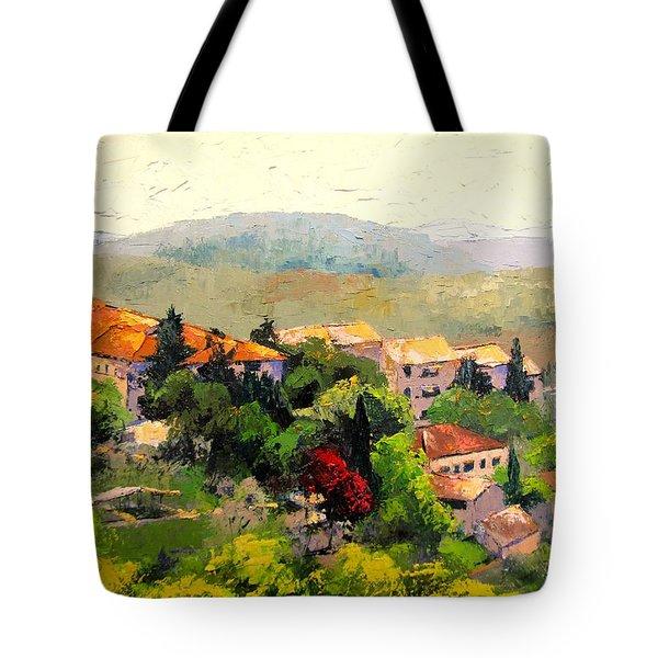 Italian Hillside Village Oil Painting Tote Bag