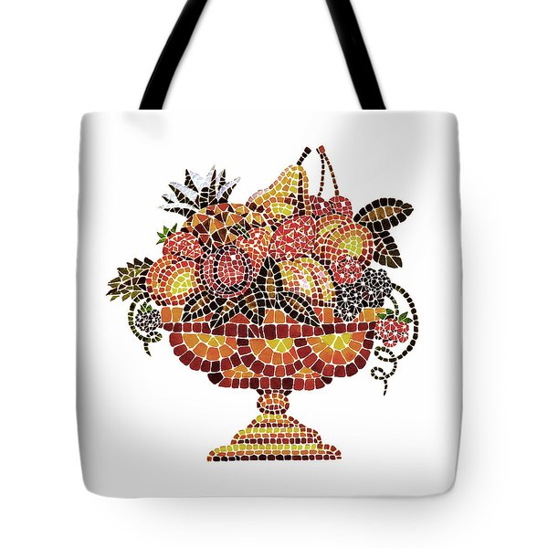 Italian Mosaic Vase With Fruits Tote Bag by Irina Sztukowski