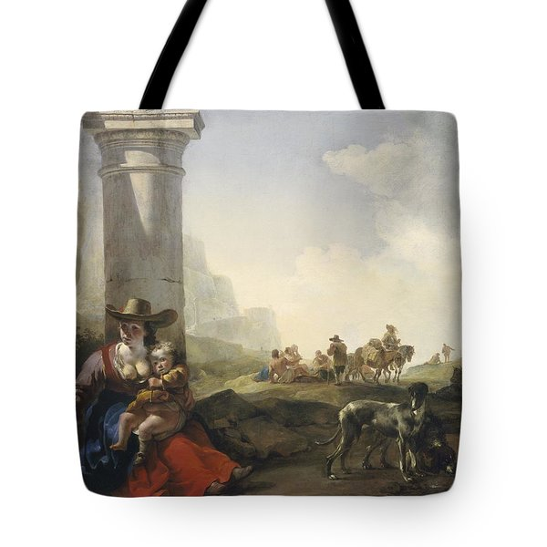 Italian Peasants Among Ruins Tote Bag by Jan Weenix