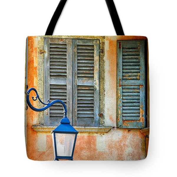 Italian Street Lamp With Window And Decorated Wall Tote Bag