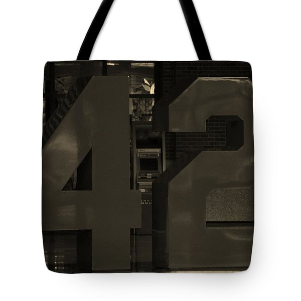 Jackie Robinson 42 In Sepia Tote Bag by Rob Hans