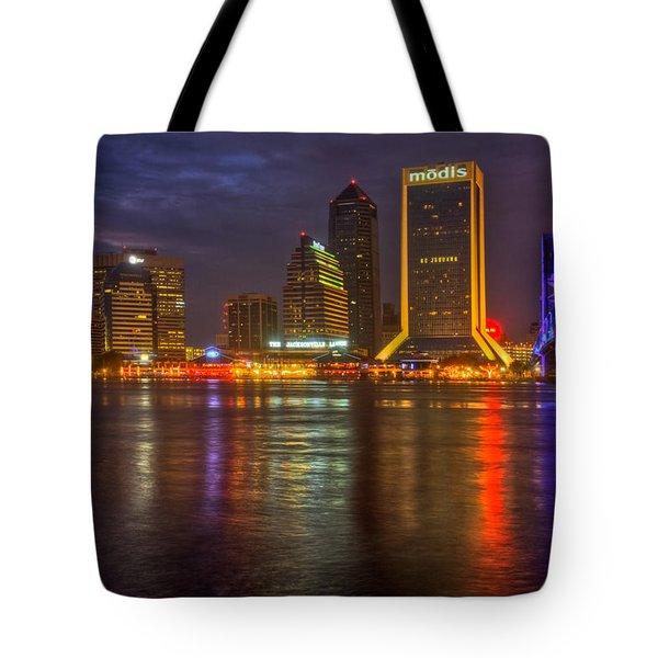 Jacksonville At Night Tote Bag by Debra and Dave Vanderlaan