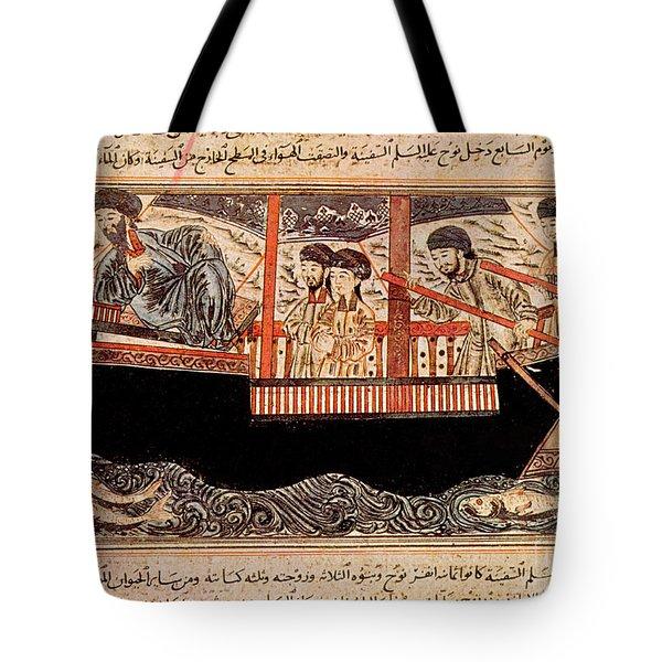 Jami Al-tawarikh, Noah And His Sons Tote Bag by Photo Researchers