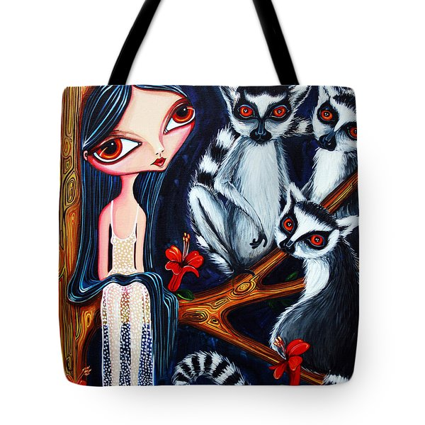 Tote Bag featuring the painting Jane And The Lemurs by Leanne Wilkes