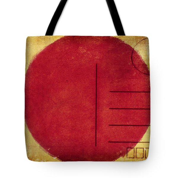 Japan Flag Postcard Tote Bag by Setsiri Silapasuwanchai
