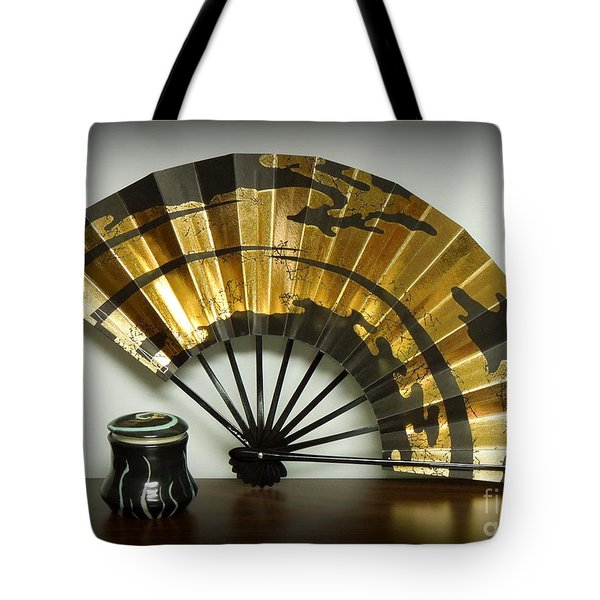 Japanese Fan And Pot Tote Bag by Renee Trenholm