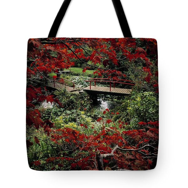 Japanese Garden, Through Acer In Tote Bag by The Irish Image Collection
