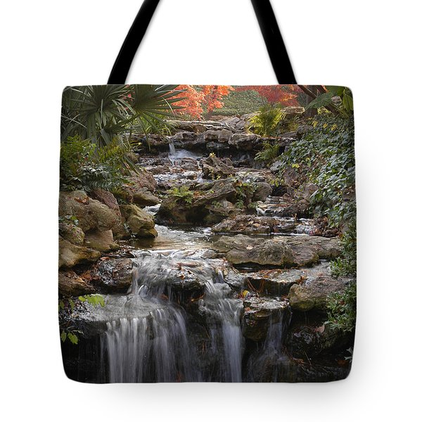 Waterfall In The Japanese Gardens, Ft. Worth, Texas Tote Bag