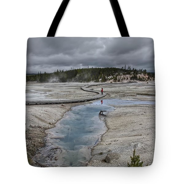 Japanese Woman With Umbrella At Norris Geyser Basin Tote Bag by Daniel Hagerman