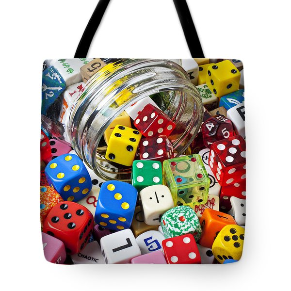 Jar Spilling Dice Tote Bag by Garry Gay