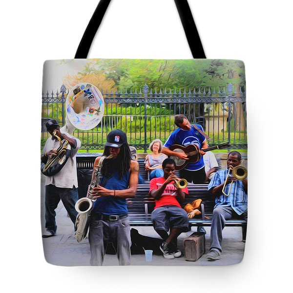 Jazz Band At Jackson Square Tote Bag by Bill Cannon