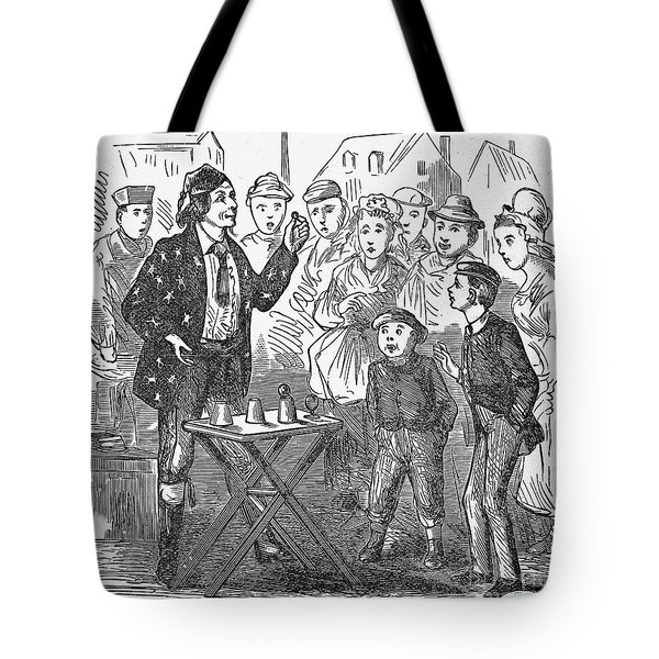 Jean Eugene Robert Houdin (1805-1871). French Magician. Wood Engraving, C1880, From An American Edition Of Houdins Autobiography, Depicting His First Childhood Encounter With A Street Magician Tote Bag by Granger
