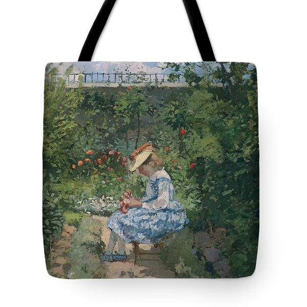 Jeanne In The Garden Tote Bag by Camille Pissarro