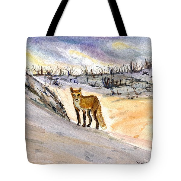 Tote Bag featuring the painting Jersey Shore Fox by Clara Sue Beym