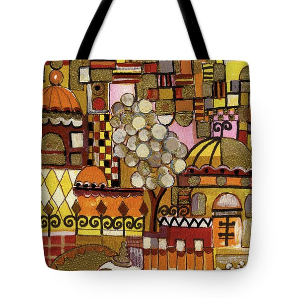 Jerusalem Alleys Tall 5  In Red Yellow Brown Orange Green And White Abstract Skyline Landscape   Tote Bag by Rachel Hershkovitz