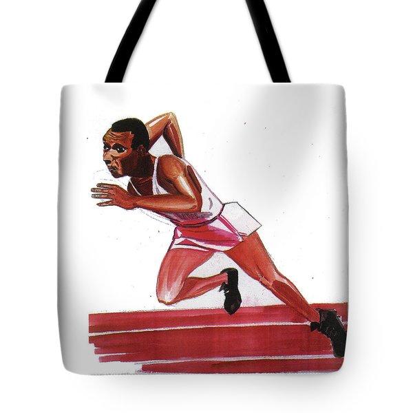 Jesse Owens Tote Bag by Emmanuel Baliyanga