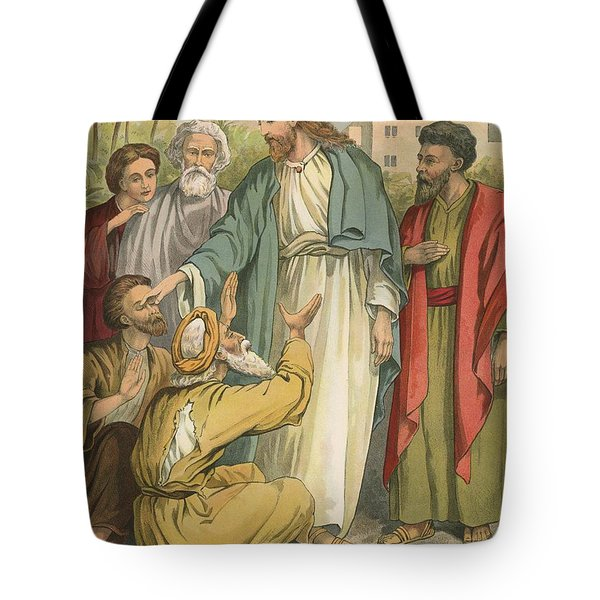 Jesus And The Blind Men Tote Bag by English School