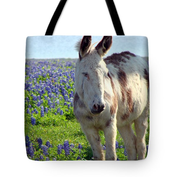 Tote Bag featuring the photograph Jesus Donkey In Bluebonnets by Linda Cox
