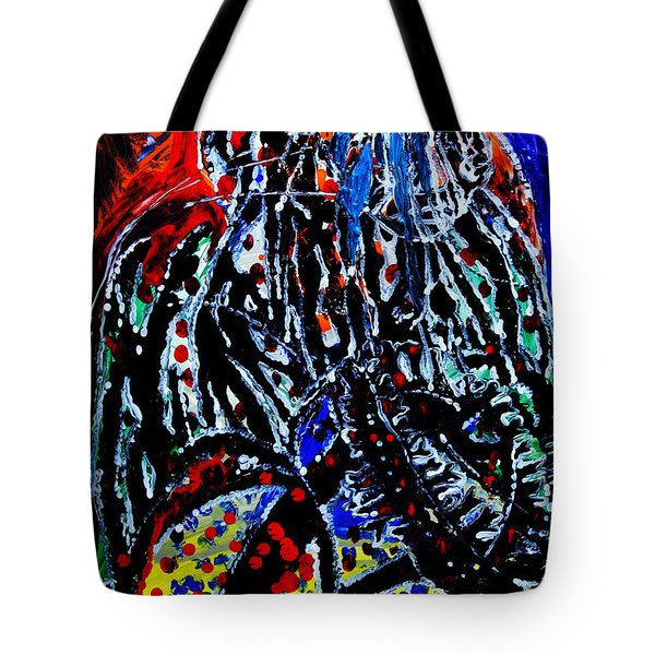 Tote Bag featuring the painting Jesus Meets Mary On Calvary by Gloria Ssali
