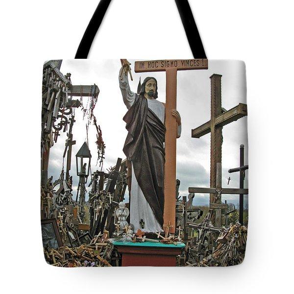 Jesus On The Hill Of Crosses. Lithuania Tote Bag by Ausra Huntington nee Paulauskaite