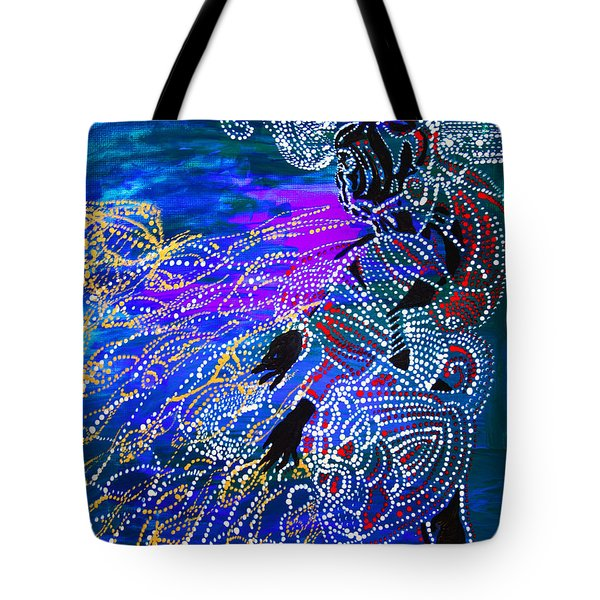 Tote Bag featuring the painting Jesus Reaps His Harvest by Gloria Ssali
