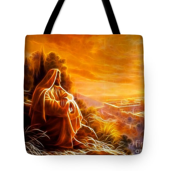 Jesus Thinking About People Tote Bag by Pamela Johnson