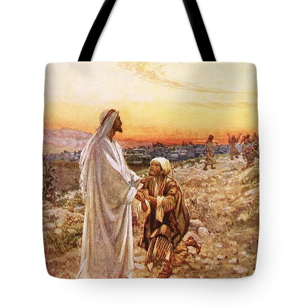 Jesus Withe The One Leper Who Returned To Give Thanks Tote Bag by William Brassey Hole