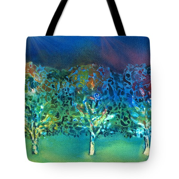 Tote Bag featuring the mixed media Jeweled Trees by Arline Wagner