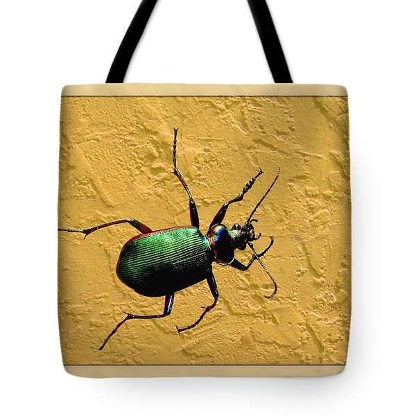 Tote Bag featuring the photograph Jeweltone Beetle by Debbie Portwood