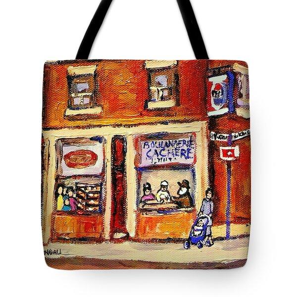 Jewish Montreal Vintage City Scenes Hutchison Street Butcher Shop  Tote Bag by Carole Spandau
