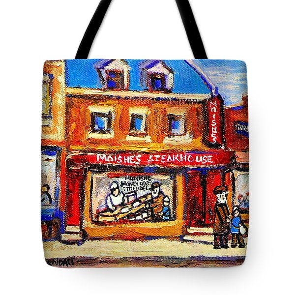 Jewish Montreal Vintage City Scenes Moishes St. Lawrence Street Tote Bag by Carole Spandau