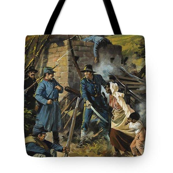 John Brown On 30 August 1856 Intercepting A Body Of Pro-slavery Men Tote Bag by Andrew Howart