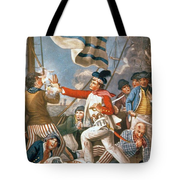 John Paul Jones Shooting A Sailor Who Had Attempted To Strike His Colours In An Engagement Tote Bag by John Collet