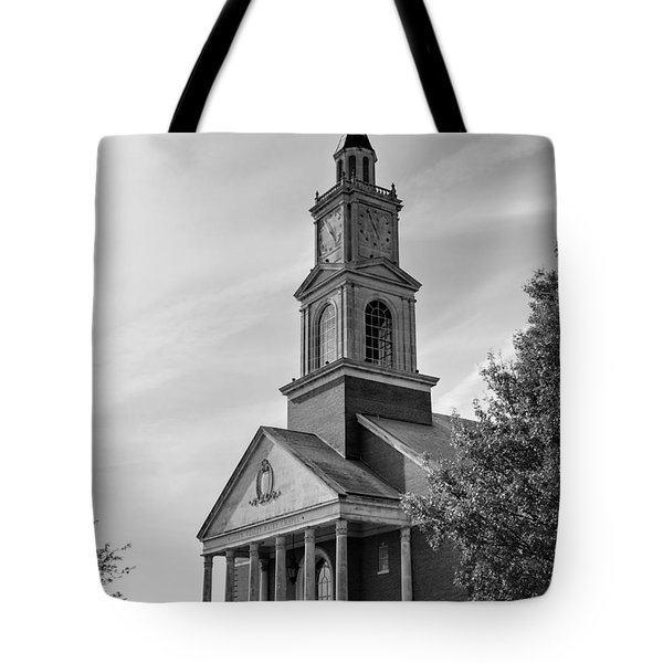 John Wesley Raley Chapel Black And White Tote Bag by Ricky Barnard
