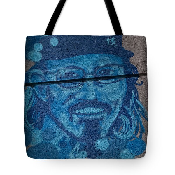 Tote Bag featuring the digital art Johnny On The Wall by Carol Ailles