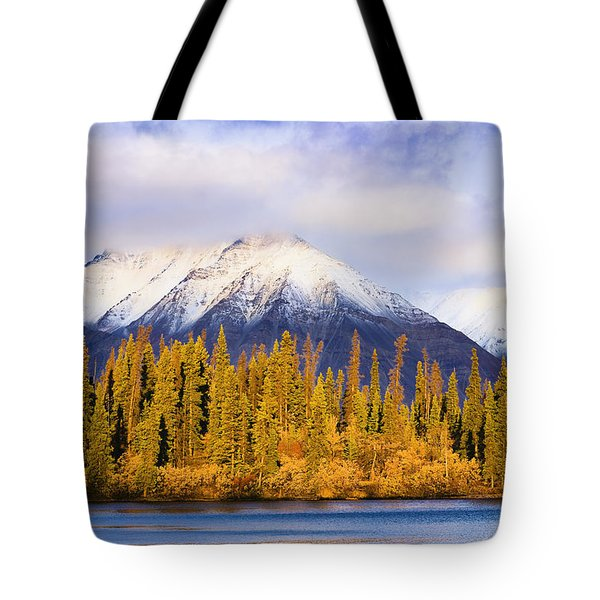 Kathleen Lake And Mountains At Sunrise Tote Bag by Yves Marcoux