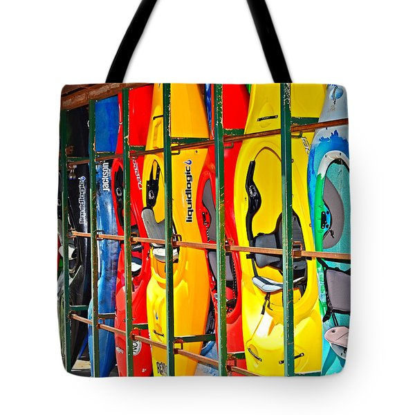 Kayaks In A Cage Tote Bag