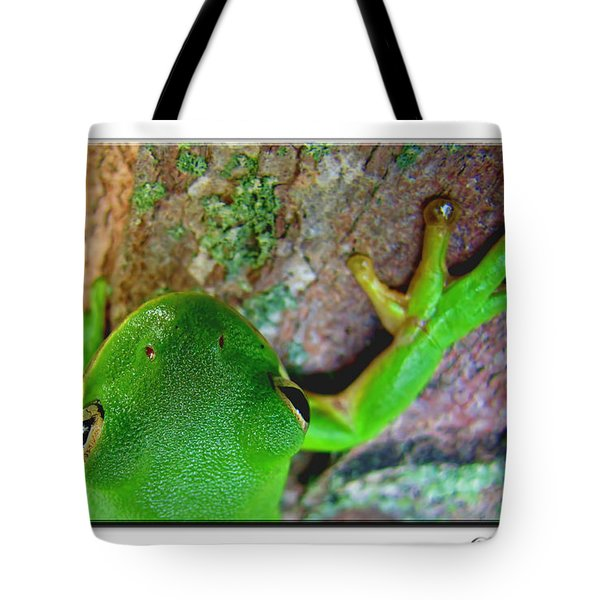 Tote Bag featuring the photograph Kermit's Kuzin by Debbie Portwood