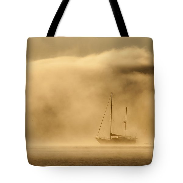 Ketch In Mist Tote Bag by Avalon Fine Art Photography
