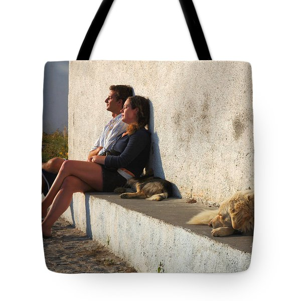 Kicking Back In Greece Tote Bag by Bob Christopher