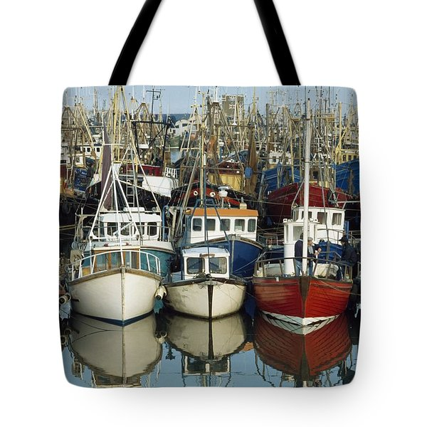 Kilkeel, Co Down, Ireland Rows Of Boats Tote Bag by The Irish Image Collection