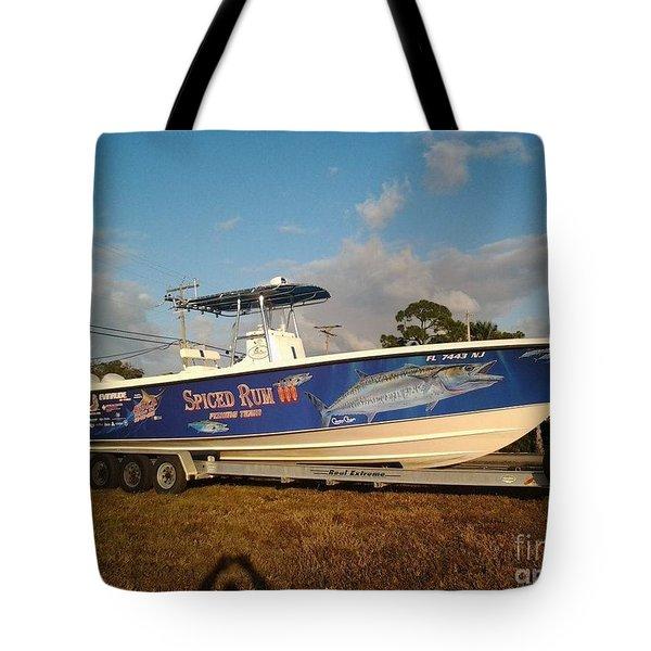 Kingfish Boat Wrap Tote Bag by Carey Chen